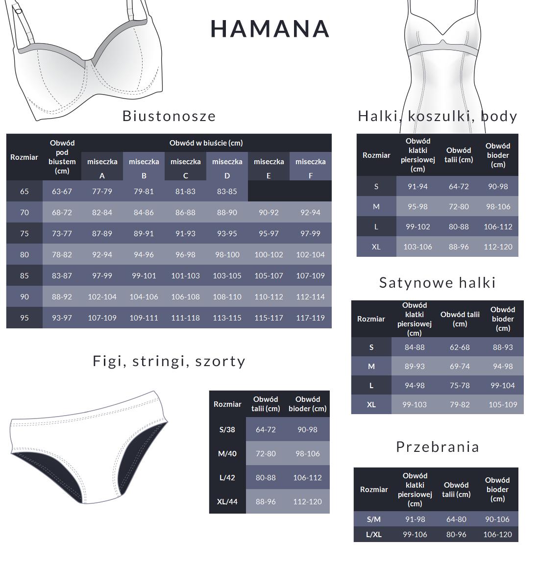 Tabela rozmiarów - Hamana