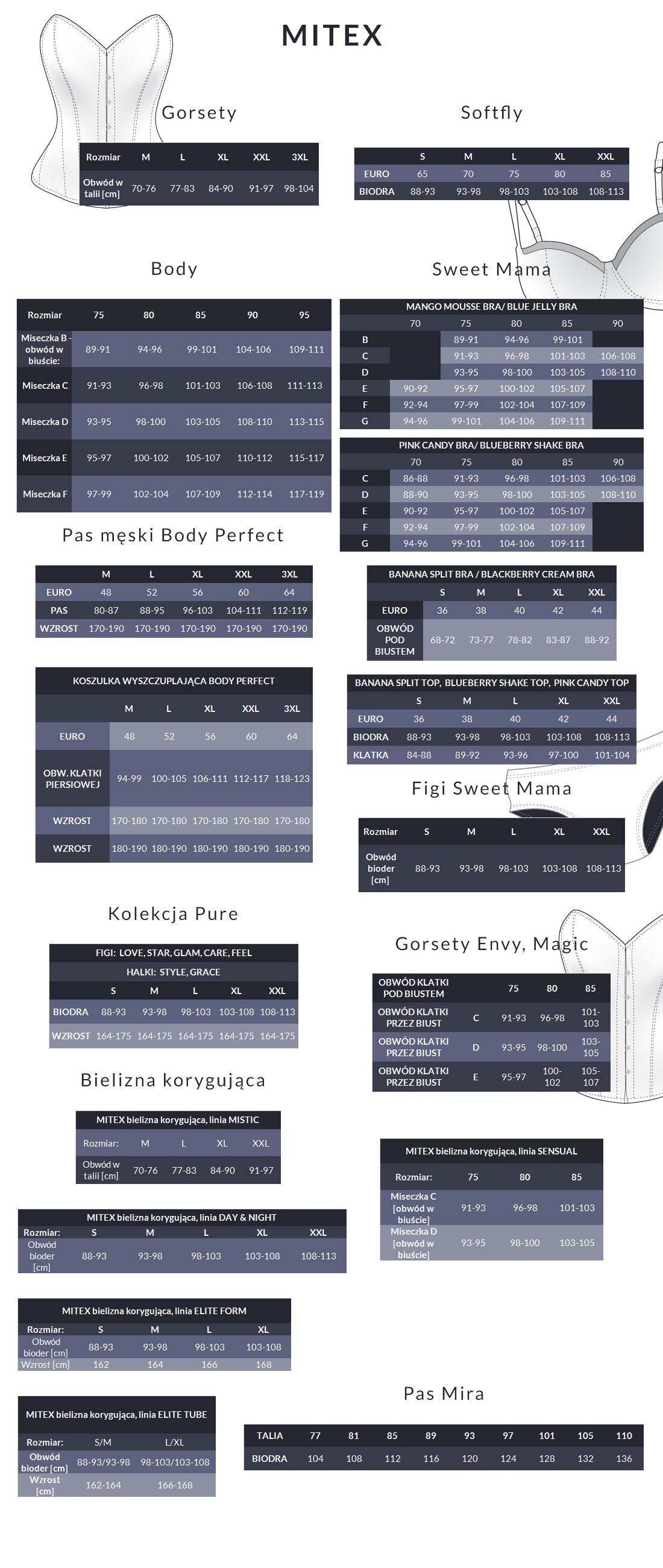 Tabela rozmiarów - Mitex